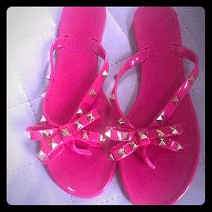 Shoes - Pink Jelly Pyramid Studded Sandals